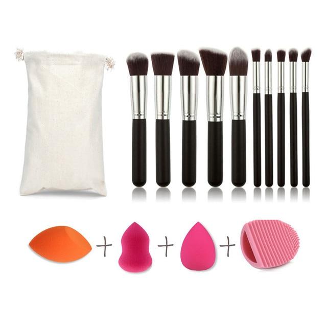14pcs Best Makeup Brush Set Powder Foundation Brushes Contouring Silicone Makeup Brush Cleaning Tools With Sponge