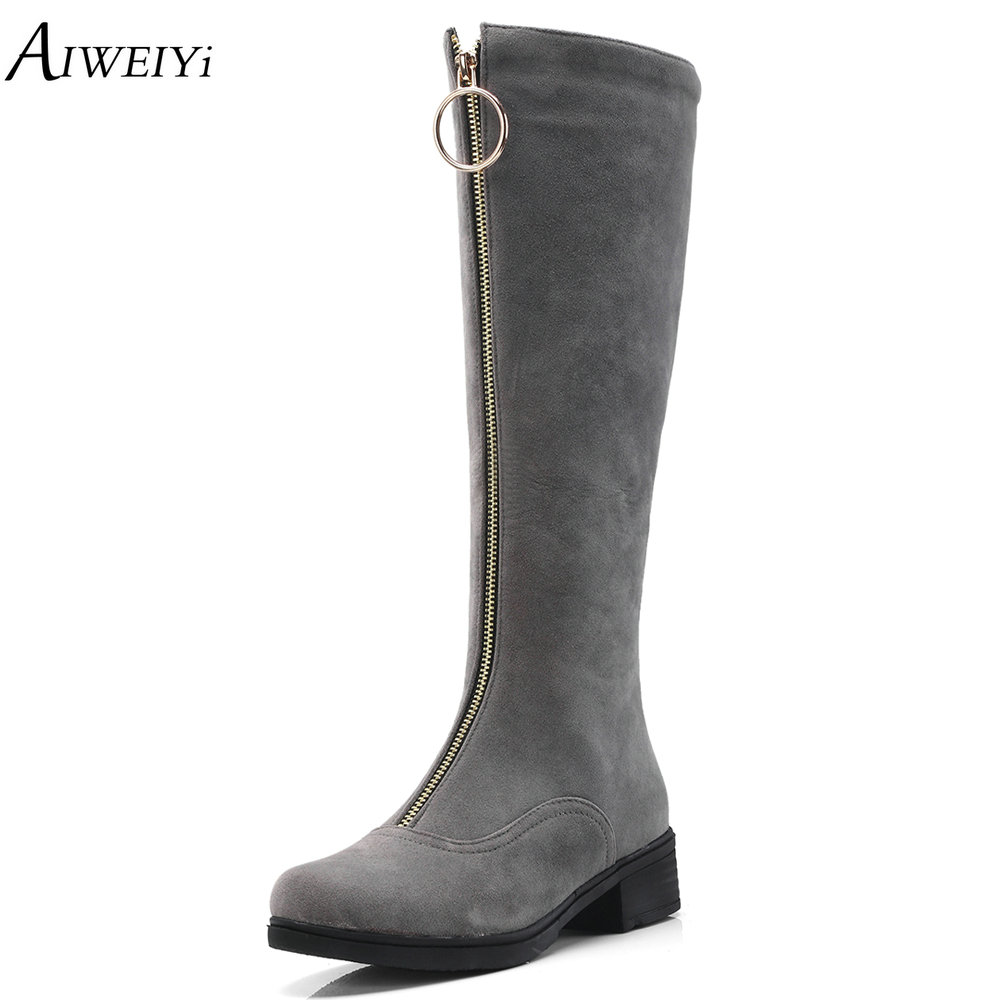 цена AIWEIYi New Women Autumn Winter Thigh High Boots Thick Heels Over The Knee Boots Front Zip Shoes Woman Grey Black