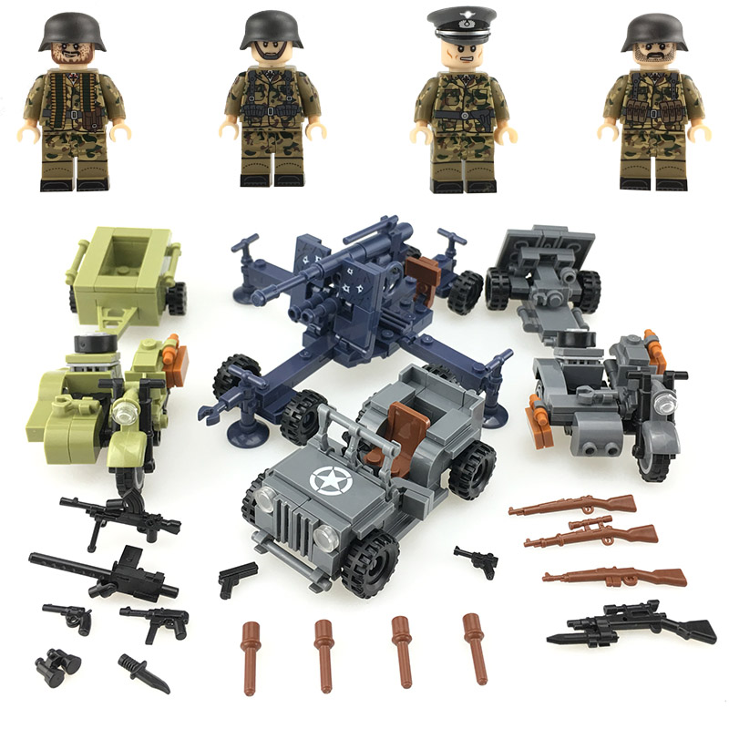 US $12 49 10% OFF|NEW WW2 German Army Military Figures Blocks Willis Jeep  antiaircraft gun weapons parts building blocks Bricks toys for children-in