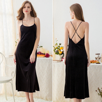 780d0968cc84e Perfering Balck Sexy Nightgown Night Dress Cross Back Imitation Golden  Velvet Sexy Strapless Nightdress With Thickened