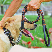 High Quality Genuine Leather Large Dog Leashes Pet Traction Rope Collar Set For Big Dogs Leather