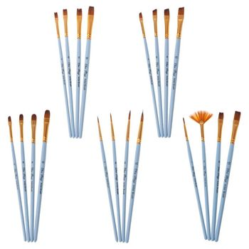 4pcs Professional Paint Brushes Nylon Hair Artist Brush For Acrylic Watercolor Oil Painting Pointed Tip Wood Handle 12 wood artist paint brush suits wood palette nylon hair watercolor acrylic painting brush artistic supplies