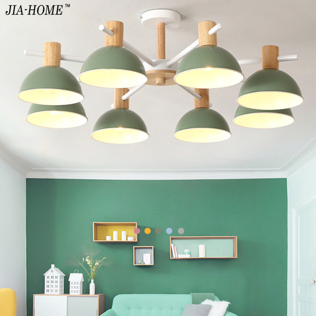 Solid Wood Chandelier For Living Room Bedroom Iron Color Lampshade Led Lighting Res Para Sala