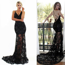 Womens lace Backless Mermaid Evening dress 2019 New Long Party Prom dress Tailored robe de soiree lace pleated backless prom dress