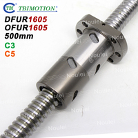 TBI C3 C5 Ball screw 1605 500mm with DFU1605 OFU1605 Double Nut High Precision Ground 16mm DFU set