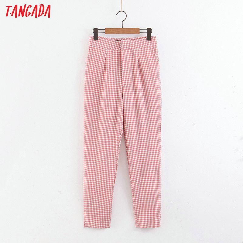 Tangada Summer Woman Pink Plaid Suit Pants Sashes Pocket Retro Female Streetwear Casual Trousers Mujer 3Z82