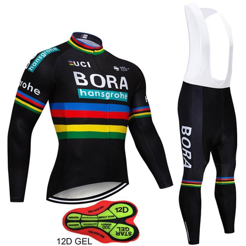Pro Équipe BORA Vélo Vêtements Set Automne Vélo Tissu Maillot À Manches Longues VTT Vélo Vélo Maillots Ropa Ciclismo Cyclisme Costume