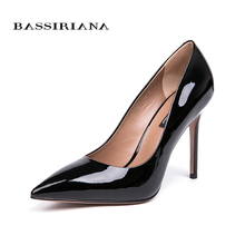 BASSIRIANA 2018 new quality genuine leather patent shoes women high heels size 35-40 free shipping