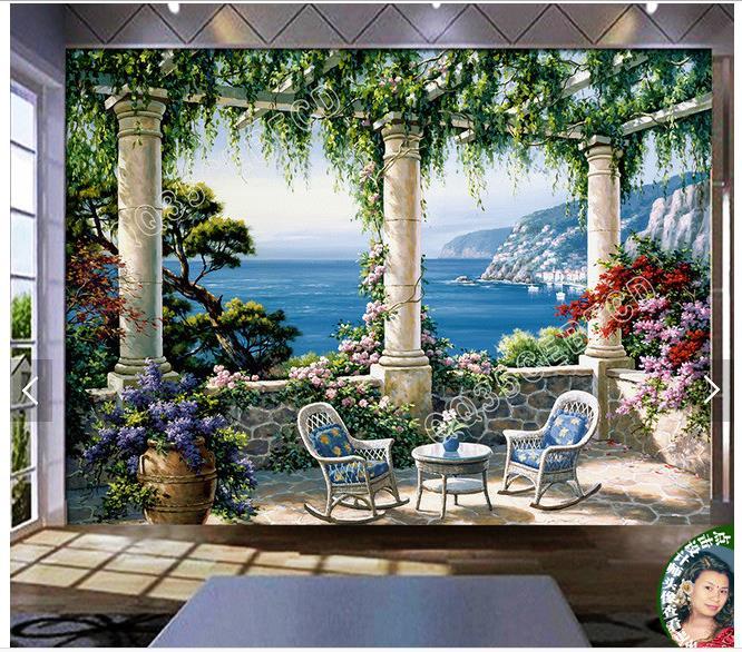 Custom photo wallpaper 3d murals wallpaper Garden villa landscape 3d mural wallpapers for living room decoration Обои
