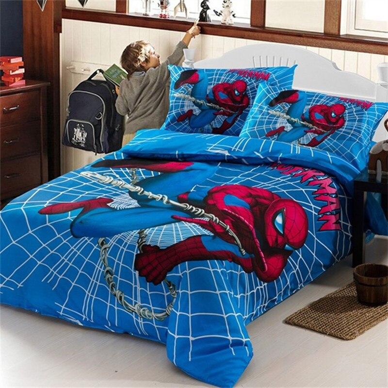 Boys Spiderman Bedding Set Kids Iron Man Duvet Cover Bed Sheet Pillowcase For Single Bed Children