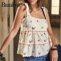Bazaleas Fashion Floral wave embroidery Women Tank Top Adjust bandage women Camis France Ruffles Casual drop shipping