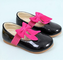 2019Spring New Children Shoes bowknot Baby Girl Casual Student Leather Shoe for Dance Wedding Party Black White Pink 3-14T