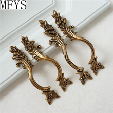 Pair of Dresser / Drawer Pull Handles Gold Brass Rustic Kitchen Cabinet Knob Handle French Provincial Shabby Chic 3.1
