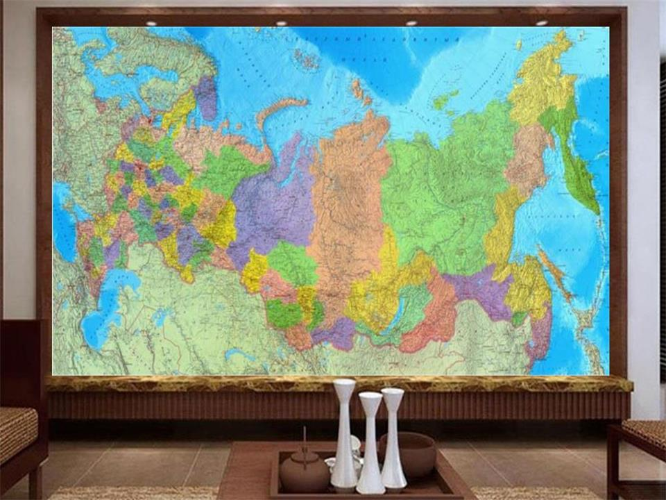 Custom Size 3d Photo Wallpaper Living Room Mural Map Of Russia 3d Picture Sofa TV Backdrop Wallpaper 3d Mural Non-woven Sticker
