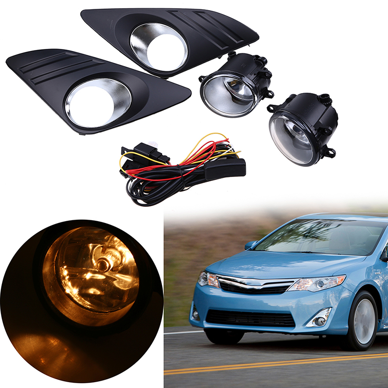 POSSBAY Front Fog Lights Bumper Halogen Lamps Kit For Toyota Camry (XV50)LE/XLE 2012-2014 External Fog Lamp Assembly car styling fog lights for toyota camry 2012 2014 pair of 12v 55w front fog lights bumper lamps daytime running lights