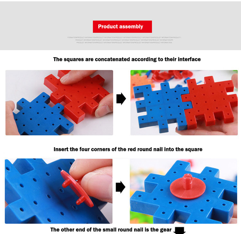 QWZ 81 Pieces Electric Gears 3D Puzzle Building Kits Plastic Bricks Educational Toys For Kids Toys For Children Christmas Gift