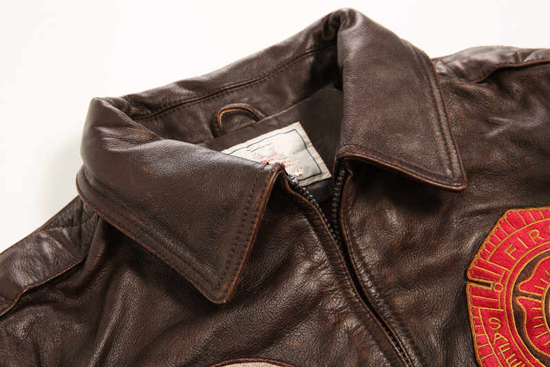 7ce37b9c70c ... Avirex fly vintage badge leather bomber jacket men pattern flight jacket  motorcycle genuine lether jacket men ...