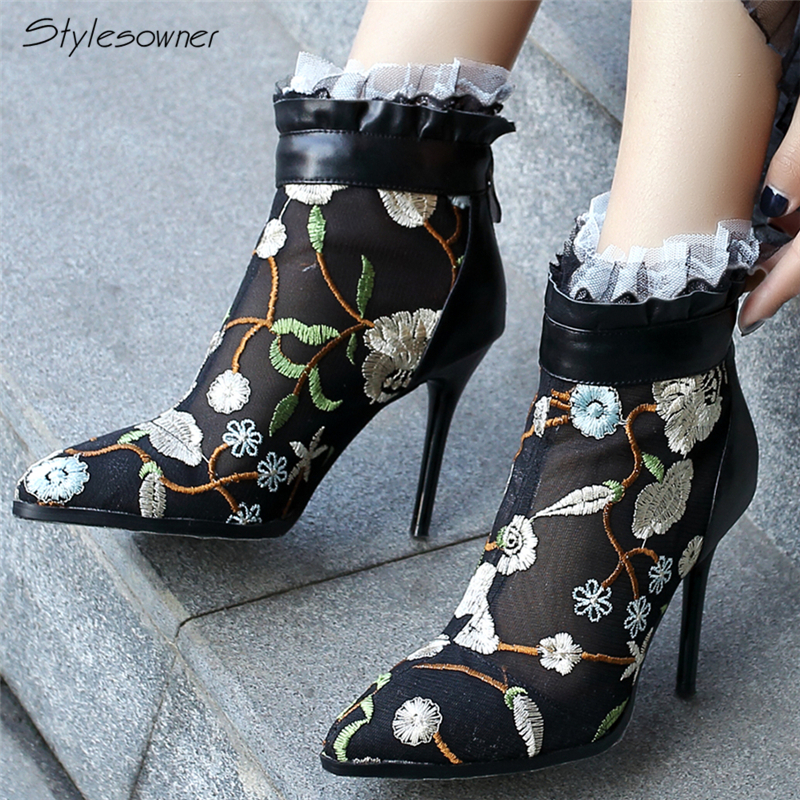 Stylesowner New Spring Lace Mesh Women Boots Thin High Heels Boots Lace See Through High Heels Brand Designer Sexy Boots Summer the new spring and summer ms south korea ensure their boots comfortable show female water thin antiskid tall canister shoe