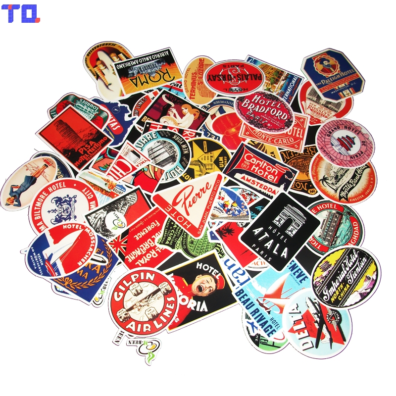 55Pcs/Lot Styling Pvc Waterproof Rimowa Vintage Stickers For Laptop Motorcycle Skateboard Luggage Decal Toy Sticker 2018 stripe bikini set women plus size swimwear halter bikini suit women sexy high waist summer bath swim suit swimsuit