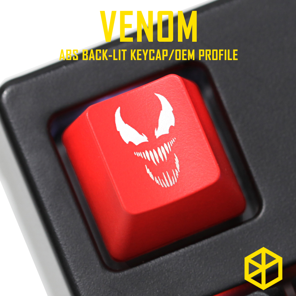 Novelty Shine Through Keycaps ABS Etched, Shine-Through Venom Superhero Black Red Custom Mechanical Keyboard Esc R4