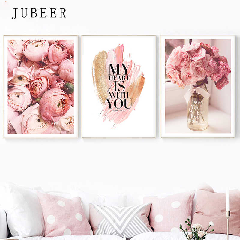 Scandinavian Style the Picture Pink Flowers Posters and Prints for Living Room Decoration Pictures Canvas Wall Art Home Decor