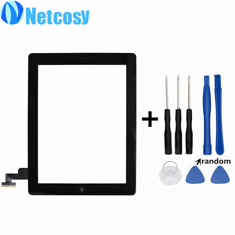 Black White Touchscreen For ipad 2 Touch Glass Screen Digitizer Home Button Assembly repair For ipad 2 touch panel & Tools new touch panel for ipad air 1 ipad 5 touch screen digitizer flex cable front glass assembly adhesive with home button t0 3