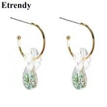Fresh Crystal Flower Drop Earrings For Women 2019 New Elegant Korean Hanging Jewelry