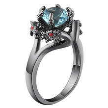 ФОТО hainon black gun color cool dragon men rings jeweley punk party finger rings red sky blue round cz crystal rings for women