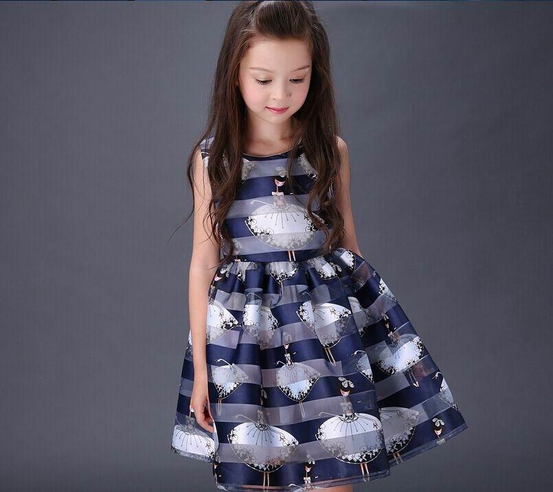 Retail 2016 Summer New Large Girl Dress Dancing Girl Cartoon Organza Dress Fashion Sundress Children Clothing 5-16T 088