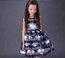 Retail 2016 Summer New Large Girl Dress Dancing Girl Cartoon Organza Dress Fashion Sundress Children Clothing 5-16T E088