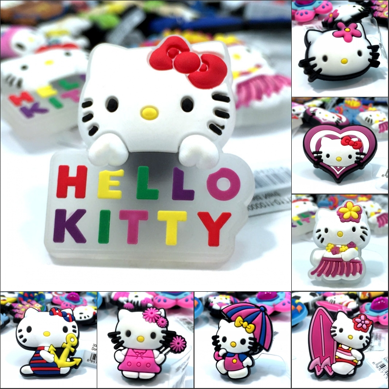 Good Novelty 1pcs Cute Hello Kitty High Imitation Shoe Charms,shoe Buckles Accessories Fit For Croc Jibz Kids Gifts Shoe Accessories