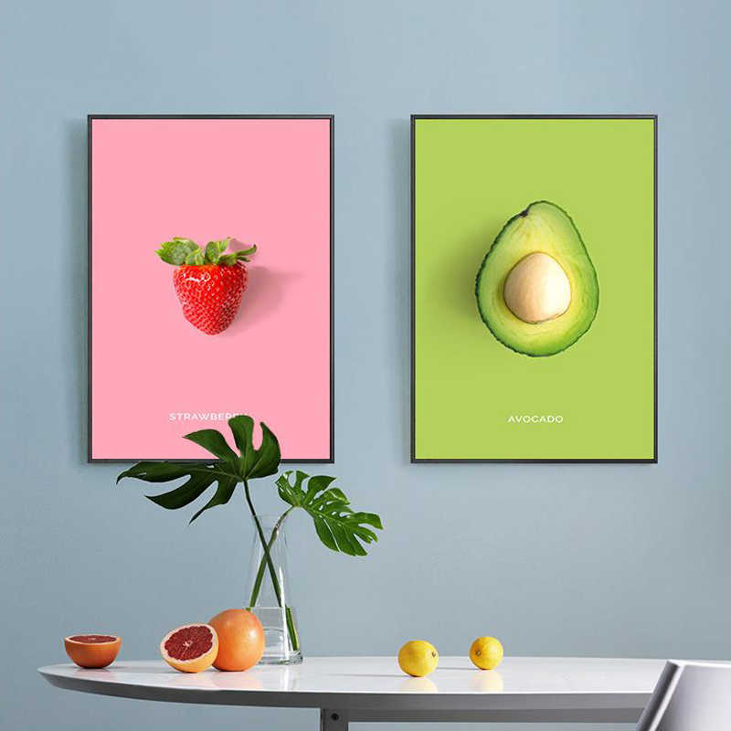 Nordic Kitchen Decoration Posters Coconut Raspberry Mango Plum Fruits Canvas Painting Hd Print Wall Art Picture For Living Room