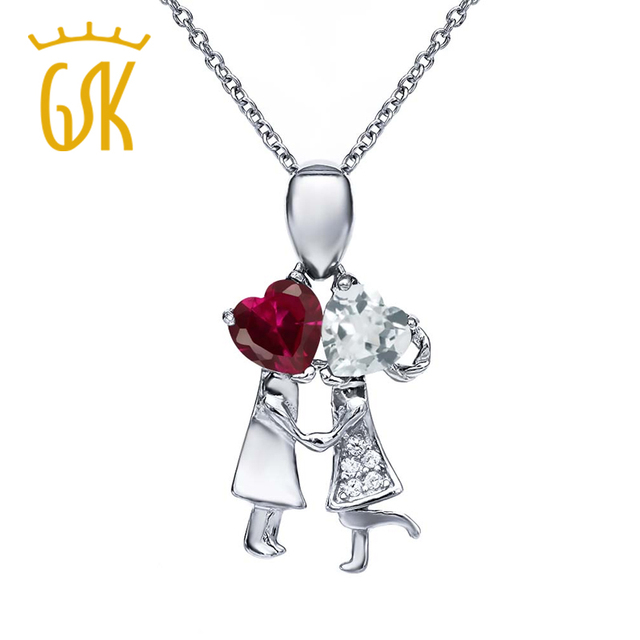 2.03 Ct Red Created Ruby Sky Blue Aquamarine 925 Sterling Silver Boy and Girl Pendant Necklace GemStoneKing