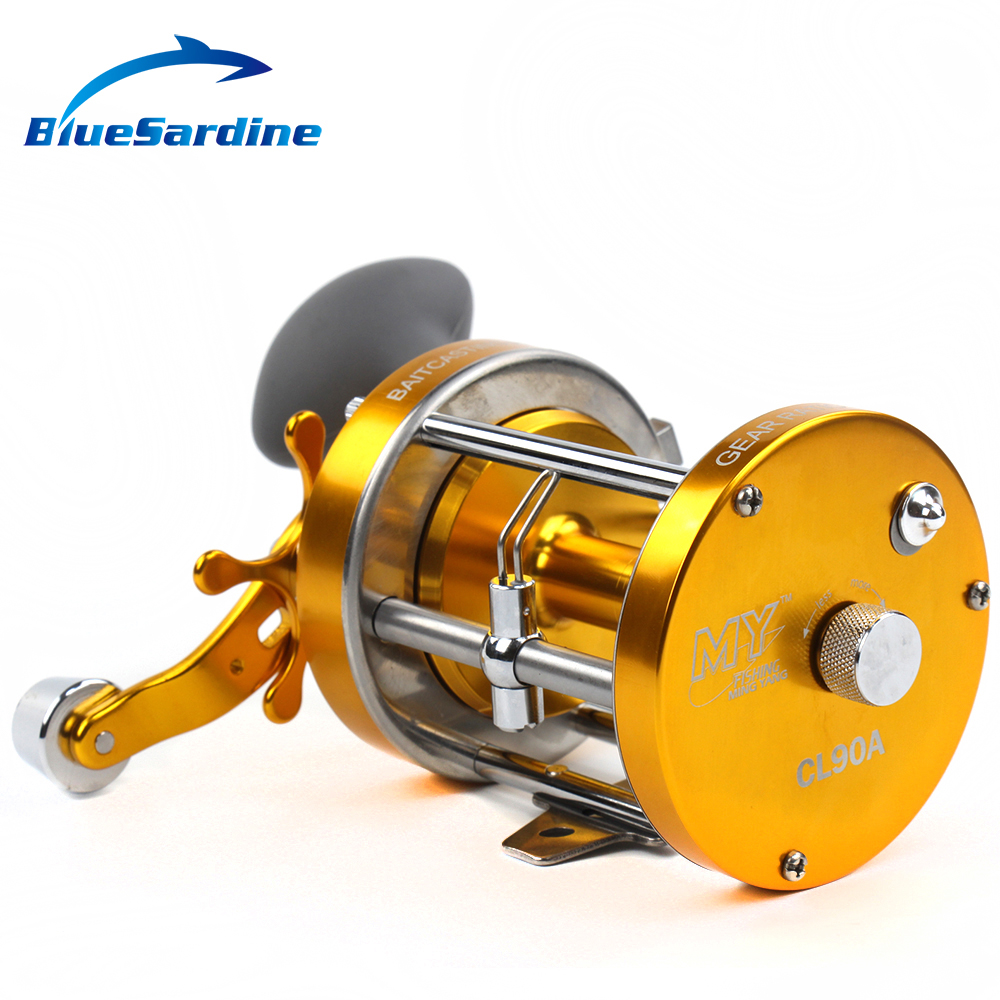 цена на BlueSardine 2+1 BB Drum Reel Boat Trolling Fishing Reel Baitcasting Sea Wheel Saltwater Bait Casting Fishing Tackle