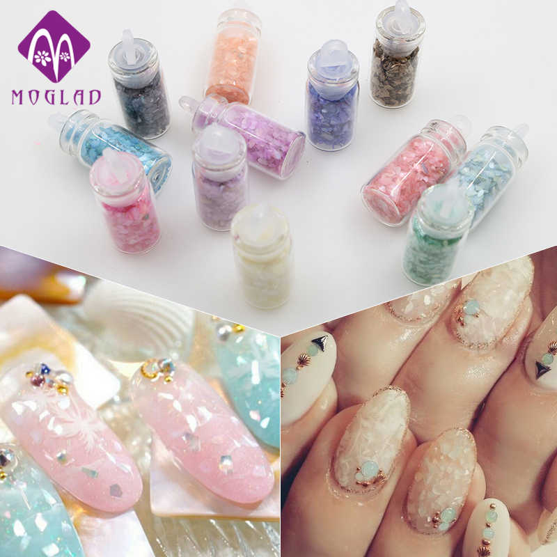 Fashion new 12 bottles/pack shinny shell nail glitter decoration mixed colors natural powder sequins manicure decoration