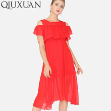e88002f567 QIUXUAN Women Chiffon Dress Summer Open Shoulder Flutter Sleeve Ruffles  Layer High Waist Dress Fashion Midi