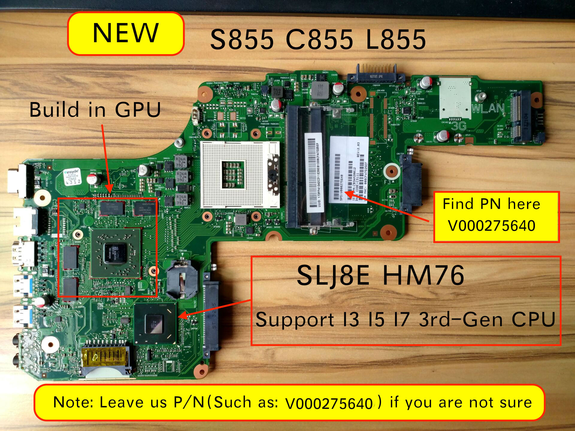 Original New For Toshiba Satellite S855 C855 L855 Laptop Motherboard HM76 HD7670M Video Card V000275640
