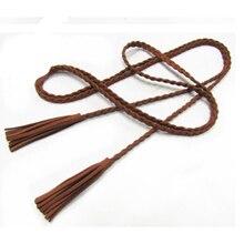 Waistband Cummerbunds Braid-Belt Girls Women Long-Designer String Brushed Tassel Hand-Knit