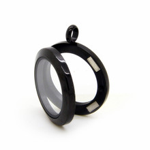 10pcs Black Waterproof floating Locket ( 20mm 25mm 30mm ) Magnetic 316L Stainless Steel Memory Glass Pendant