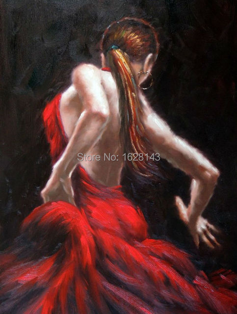 Flamenco Dancer Painting Modern Spanish Lady Woman In Red Dress Oil On Canvas Hight Quality Hand Painted