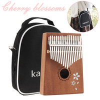 17 Keys Kalimba Single Board Mahogany Sakura Inlay Thumb Piano Set Mini Mbira Keyboard Instrument with Bag