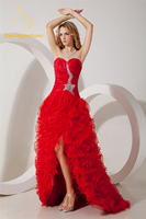 Bealegantom Fashion Sexy Red Crystal A Line Evening Dresses 2019 With Pleat Organza Formal Party Prom Gown Vestido Longo BE52