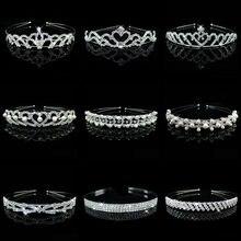 HOT Sale Charm Wedding Bridal Bridesmaid Tiara Crown Headband Heart Flower Girls Love Crystal Rhinestone Party Jewelry 18 styles