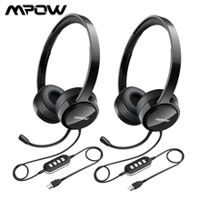 2PCS Mpow PA071 Wired Headphones Headset With Noise Reduction Sound Card 3.5mm/ USB Plug Earphone For Call Center PC Phones Pad