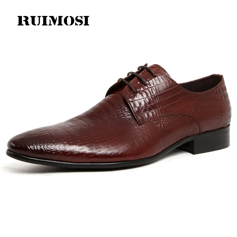 RUIMOSI Pointed Toe Laced Crocodile Man Formal Dress Shoes Genuine Leather Male Derby Wedding Oxfords Men's Bridal Flats PF28