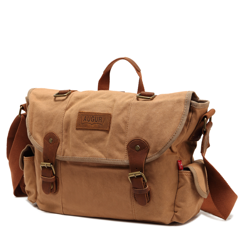 Augur Men Messenger Bag Canvas Vintage Luxury Handbag Crossbody Bags for Man Laptop Package Small Satchel Khaki/Army Green/Coffe casual canvas women men satchel shoulder bags high quality crossbody messenger bags men military travel bag business leisure bag