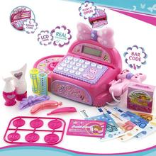 Hot Pink Supermarket Cash Register Electronic Toys With Food