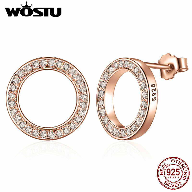 100% 925 Sterling Silver & Rose Gold Color Forever Stud Earrings With Clear CZ For Women Original Fine Jewelry Gift XCHS484