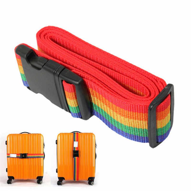 1 szt bagażu walizka pasy bagażu Rainbow pas pas bagażowy regulowany Nylon bagażu podróży plecak torba