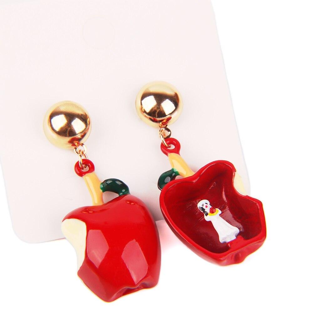 Genteel 1pair Asymmetric Drop Earrings For Women Lovely Fairy Tales Snow White Black Queen Poison Apple Pendant Earrings Jewelry